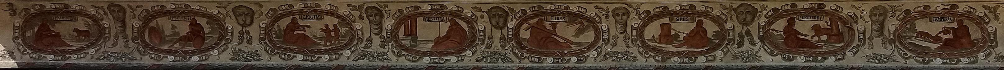 """Osm """"stěžejních"""" ctností na čelní fasádě Staré radnice v Prachaticích"""