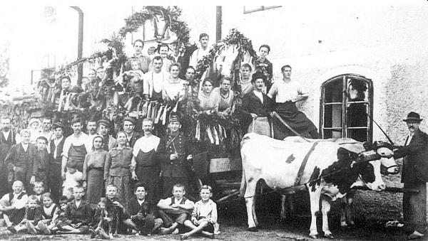Dva snímky z minulosti volarského zemědělství doprovázejí jeho text v rodácké knize