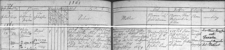 Záznam o jeho narození a křtu v matrice farní obce Zbytiny