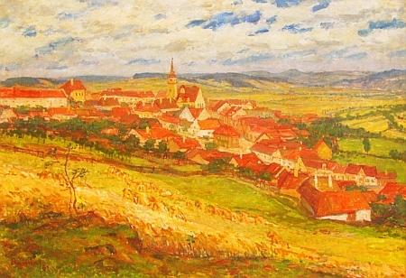 Vlachovo Březí na olejomalbě Václava Boukala z roku 1961