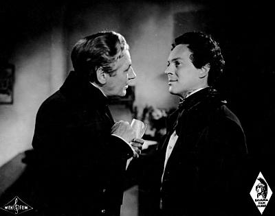 Jiný záběr z filmu Brüderlein fein zachycuje tu i Paula Hörbirgera v roli Franze Grillparzera