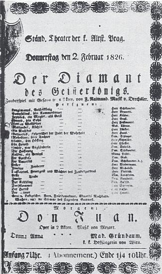 """Cedule k uvedení Raimundovy hry Diamant krále duchů v pražském Stavovském divadle s """"hudbou od Drechslera"""" (""""Musik von Drechsler"""")"""