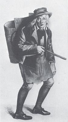 Ferdinand Raimund v roli Popeláře ve hře Dívka ze světa víl aneb Sedlák milionářem (autor obrázku Moritz von Schwind)