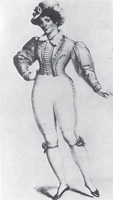 Herečka Theresa Kronesová v úloze Mládí ve hře Dívka ze světa víl aneb Sedlák milionářem, jak ji zpodobil  v roce 1826 Moritz von Schwind