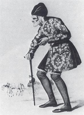 F. J. Korntheuer jako Stáří v téže hře, autorem obrázku z roku 1826 je i tady Moritz von Schwind