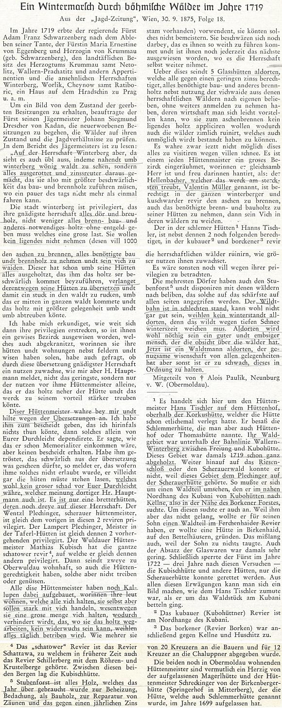 Otisk Drescherovy zprávy na stránkách krajanského časopisu