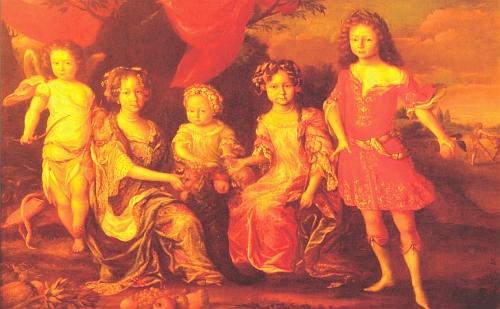 V naaranžované scéně dětí knížete Ferdinanda Schwarzenberga (žil v letech 1652-1703) je Adam František zpodoben jako Amor s lukem prvý zleva