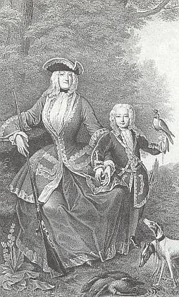 Ještě jednou kněžna Eleonora se synem Josefem Adamem z výše uvedeného obrazu Franze Stohla (1799-1882), převedeného zde dopodoby litografie Michaelem Stohlem (1813-1881)