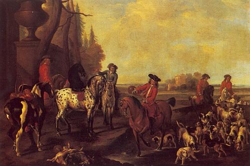 Kníže Adam František zpodobený tu s družinou lovců na dvou olejomalbách ze zámku Hluboká nad Vltavou, které provázejí pojednání Ing. Antonína Nikendeye, publikované ve schwarzenberské ročence pod pseudonymem Milli Schwarz