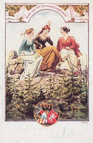 """Pohlednice s motivem tří panen z Třístoličníku, vydaná Ludwigem Rosenbergerem v """"Neureichenau im Bayerischen Wald"""" nese vedle bavorského a rakouského také trochu zpotvořený český znak"""