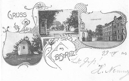 """Stará pohlednice z Bystřice nad Úhlavou, zaslaná v dubnu roku 1900, zachycuje uprostřed pozdější hostinec """"UČerného jezera"""" (""""Zum Schwarzen See"""")"""