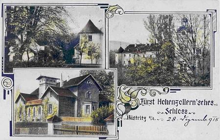"""Bystřická kolorovaná pohlednice s datem 28. prosince 1915, vlevo dole s """"villou"""" pro dvě úřednické rodiny"""
