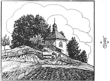 """Kostelík Nejsvětější Trojice blízko Bystřice nad Úhlavou, kam se prvou neděli po svatodušních svátcích konávala každoročně """"Fejdritzer Wallfahrt"""", tj. """"bystřická pouť"""", na perokresbě s iniciálami MG (= M. Guschelbauer) z roku 1930"""