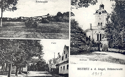 """Jiná stará bystřická pohlednice, vlevo dole zachycující zdejší """"náměstí"""""""