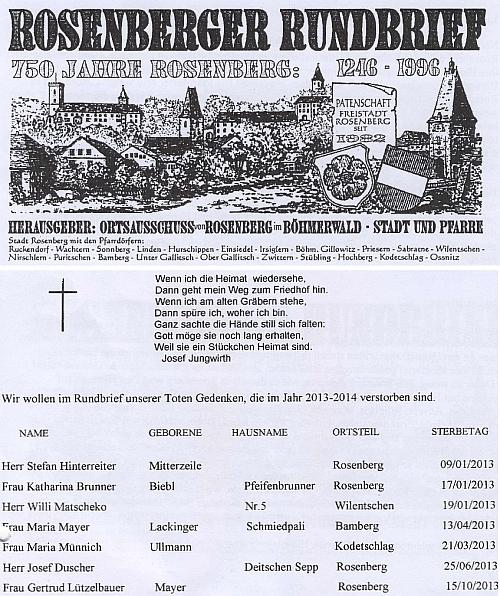 """Jubilejní číslo krajanského """"oběžníku"""", kde vyšla zpráva o jeho úmrtí"""