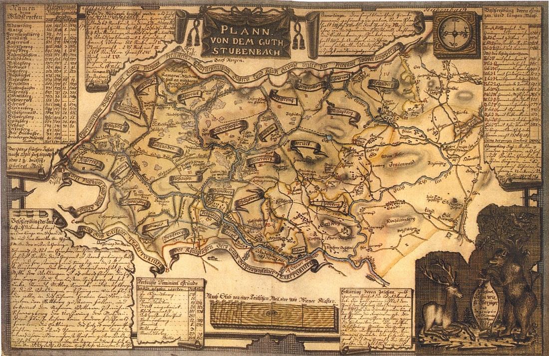 Wiehlův plán velkostatku Prášily z roku 1799