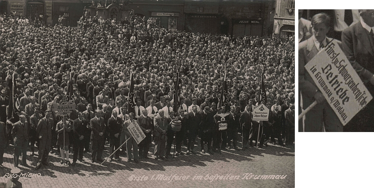 """První """"1. máj"""" po """"osvobození"""" 1939 zachycuje na krumlovském náměstí mj. i transparent zdejších """"knížecích schwarzenberských podniků"""", symbolicky už nakloněný k jejich zabavení novou nacistickou mocí"""