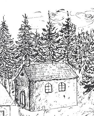 Tento výřez kresby Karla Zettla, sestavovatele prášilské kroniky, zachycuje podobu kaple sv. Prokopa, jež byla jakousi předchůdkyní prášilského kostela téhož zasvěcení a kterou dal postavit sklář Lorenz Gattermayer v roce 1756, ještě když panství Prášily náleželo rodu Kinských (až do roku 1798) a místní marně žádali celá léta o nový dům Páně