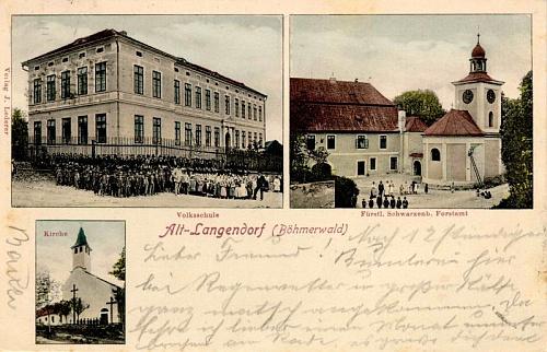 """Na staré """"dělené"""" pohlednici z počátku 20. století vidíme vpravo nahoře i knížecí schwarzenberský lesní úřad v Dlouhé Vsi"""