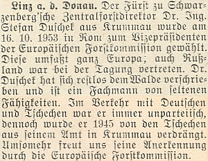 O jeho římském jmenování viceprezidentem Evropské lesnické komise v říjnu 1953 přinesl zprávu krajanský měsíčník