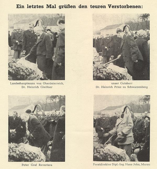 Snímky Ing. Tobiase z Duschekova pohřbu ve Wilheringu v prosinci 1956 zachycují nad jeho hrobem zemského hejtmana Gleißnera, Jindřicha Schwarzenberga, hraběte Petera Reverteru a lesního ředitele Hanse Johna