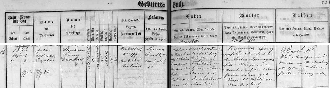 Záznam v novobystřické křestní matrice o jeho narození v rodině zdejšího barvíře Stephana Duscheka (jeho otec Ignaz Duschek byl tu rovněž barvířem, matka Maria byla dcerou Mathiase Zahradnika, také z Nové Bystřice) a jeho ženy Franzisky, roz. Springinsfeldové, dcery novobystřického měšťana Antona Springinsfelda a jeho ženy Marie, roz. Wiehlové, rovněž zNovéBystřice