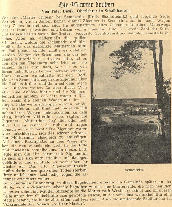 Jeho pověst ze Semošic, provázená na stránkách krajanského časopisu snímkem,     který se pozdeji stal obálkou semošické pamětní knihy Karla Sticha