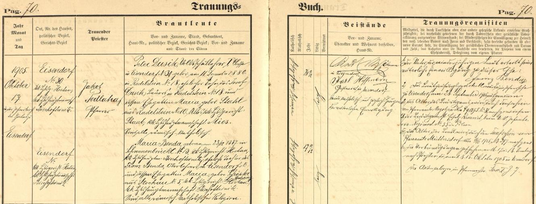 Záznam oddací matriky farní obce Železná (Eisendorf), kde tehdy učil, o jeho první svatbě, kterou tu 17. října roku 1905 farář Jakob Podlaha spojil čtyřiadvacetiletého Petera Dusika ve svazek manželský se sedmnáctiletou Marií Bendovou, 23. prosince roku 1887 v Mostku (Schwanenbrückl) čp. 13 narozenou dcerou v době svatby řídícího učitele v Železné Franze Bendy a jeho ženy Marie, roz. Schröpferové z Pivoně (Stockau) čp. 5