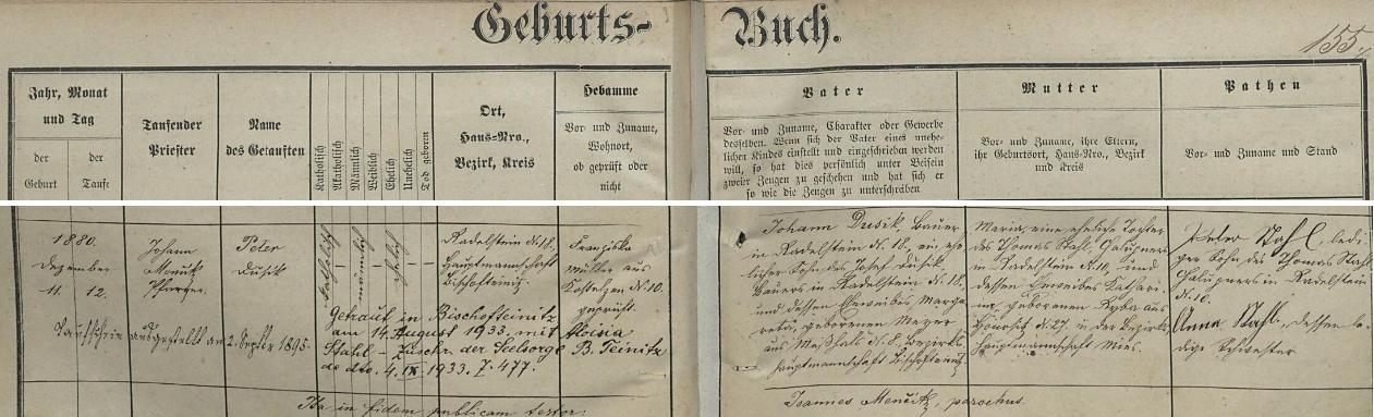 Záznam o jeho narození v křestní matrice farní obce Bukovec s přípisem o jeho druhé svatbě v roce 1933