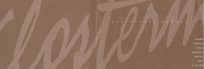 Obálka sborníku s jeho příspěvkem (Okresní muzeum Šumavy, 2000)