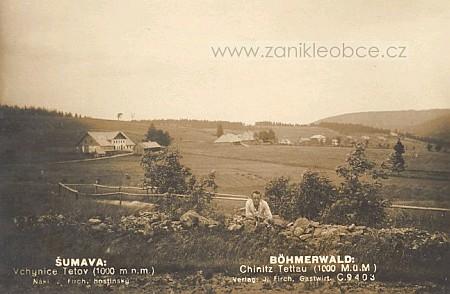 Dvojjazyčnou pohlednici měla i zaniklá obec Vchynice-Tetov