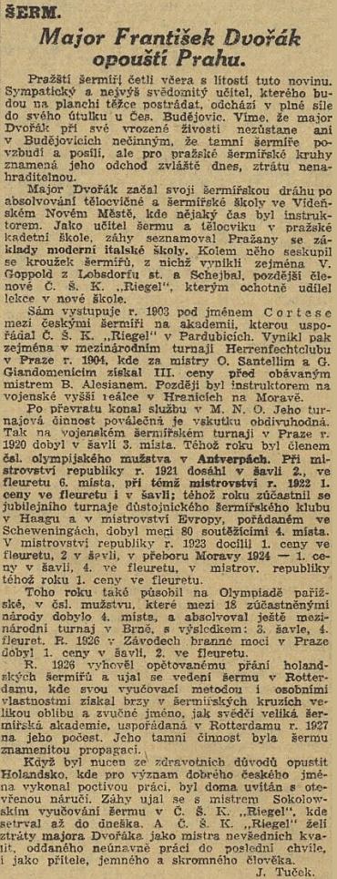 Takto referovaly Národní listy o jeho odchodu do Českých Budějovic...