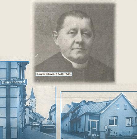 Portrét s ulicí v Gmündu, nesoucí jeho jméno a s jeho bývalým domkem v Mlýnské ulici v Gmündu