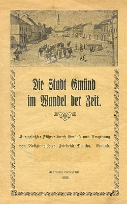 Obálky čtyř jeho knižních prací o Gmündu