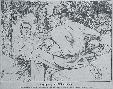 Setkání lorda Runcimana s Adalbertem Stifterem na stránkách časopisu Kladderadatsch...