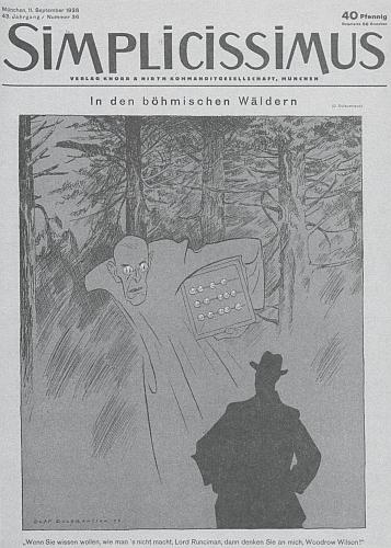 """... a Woodrow Wilson """"v českých lesích"""" v časopise Simplicissmus"""