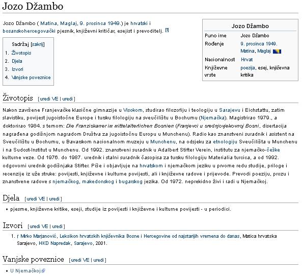 Jeho heslo v chorvatské Wikipedii