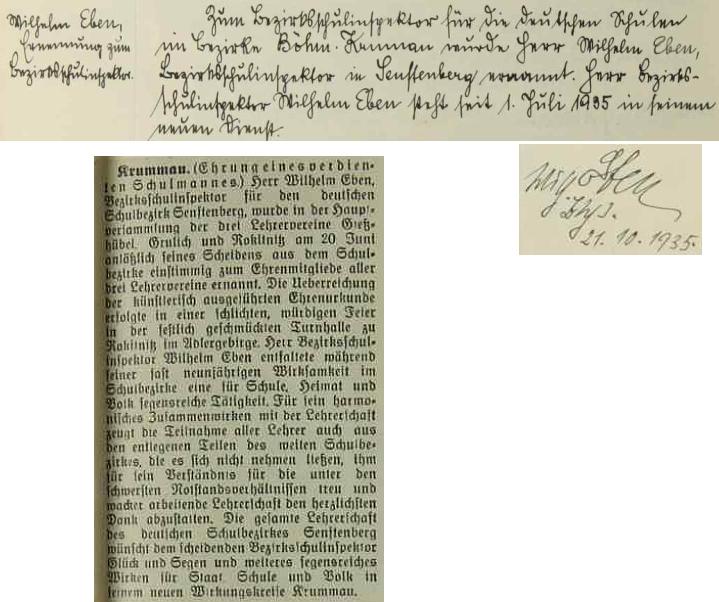 Záznam z chvalšinské školní kroniky o tom, že roku 1935 byl jmenován okresním školním inspektorem německých škol okresu Český Krumlov pan Wilhelm Eben (otec Petra Ebena), jeho podpis na jedné znásledujících stran téže kroniky a výstřižek z tisku se zprávou o Ebenově jmenování, pojatý do stránek školní kroniky v Perneku
