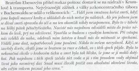 Svědectví Petra Ebena o Velikonocích s bratrem v Buchenwaldu