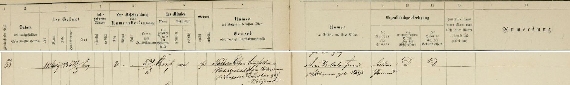 Záznam o jeho narození v pražské židovské matrice
