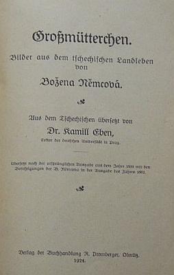 Obálka jeho německého překladu Babičky, vydaného v roce 1924 (Verlag der Buchhandlung R. Promberger)