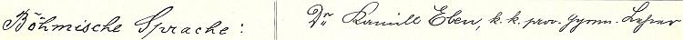 Podpis z třídního katalogu českobudějovického německého gymnázia na rok 1908/1909
