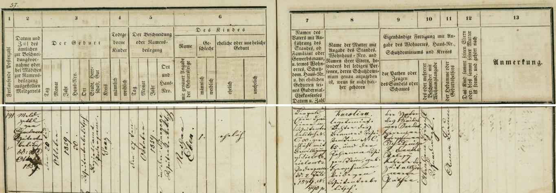 Záznam o narození otcově v matrice židovské náboženské obce v Širokých Třebčicích