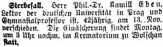 Úmrtní oznámení v listu Prager Tagblatt ze dne 14. listopadu 1925