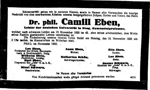 Wilhelm Eben, odborný učitel z Ústí nad Labem, otec Petra Ebena a dědeček Marka Ebena, je jedním z podepsaných na Camillově parte
