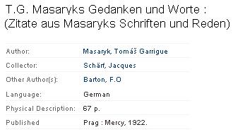 Záznam německého výboru citací z prací a projevů TGM, jehož byl spoluautorem, v katalogu International institute of social history