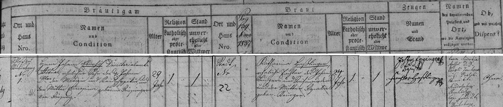 Záznam o jeho svatbě v českokrumlovské matrice