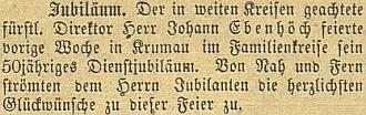 Zpráva o jeho padesátiletém jubileu ve schwarzenberských službách