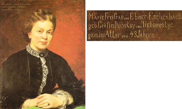 """Na portrétu Karla Blaase z roku 1873, kdy jí bylo 43 let - její rodné příjmení je na něm ovšem psáno chybně """"Dubsksy von Třebomislyc"""""""