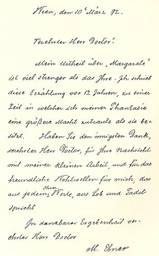 Její dopis z března roku 1892 spisovateli Karlu Emilu Franzosovi